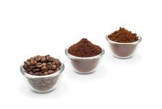 Tre sorter av kaffe Arkivbild