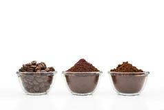 Tre sorter av kaffe Royaltyfri Foto