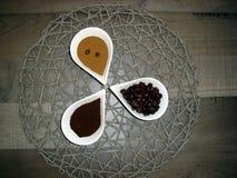 Tre sorter av kaffe Royaltyfria Foton