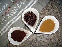 Tre sorter av kaffe Fotografering för Bildbyråer