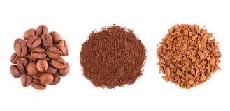 Tre sorter av kaffe på en vit bakgrund Fotografering för Bildbyråer