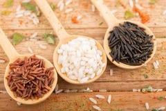 Tre sorter av ris i Wood skedar Royaltyfria Bilder