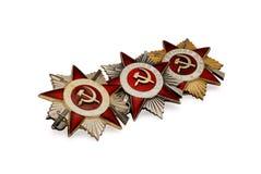 Tre sovjetiska medaljer av det andra världskriget Arkivbild