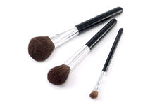 Tre spazzole per trucco Fotografie Stock Libere da Diritti