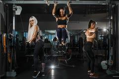 Tre sportkvinnakroppsbyggare som utbildar intensivt på horisontalstång- och kvartersimulatorn biceps och triceps royaltyfri foto