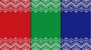 Tre stack julbakgrunder Ställ in den sömlösa geometriska prydnaden för tre färger royaltyfri illustrationer