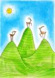 Tre stambecchi alpini, childs che disegnano, acquerello p Fotografie Stock