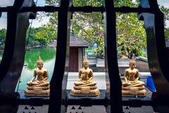 Tre statue di Buddha davanti al tempio di Seema Malaka, Colombo Fotografie Stock