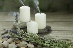 Tre stearinljus på flodkiselstenar med lavendel på trätabellen och växt- bakgrund royaltyfri bild