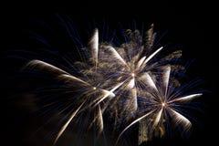 Tre stelle che scoppiano nei fuochi d'artificio Fotografie Stock Libere da Diritti