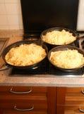 Tre stora pannor med maten som namnges frico en typisk italiensk maträtt Arkivfoto