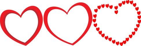 Tre stora röda hjärtor med olika former som ramar för parfoto för valentindag Arkivfoton