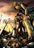 Tre stora trollkarlar står på högen av liket Royaltyfria Bilder
