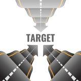 Tre strade irregolari 3d che vanno mirare alle illustrazioni di vettore illustrazione di stock