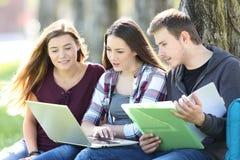 Tre studenti che imparano online in un parco Fotografia Stock