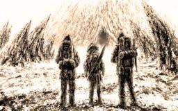 Tre supporti degli uomini all'entrata alla caverna Colore di seppia illustrazione di stock