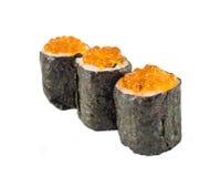 Tre sushi med kaviaren Royaltyfri Bild