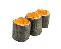 Tre sushi med kaviaren Arkivbild
