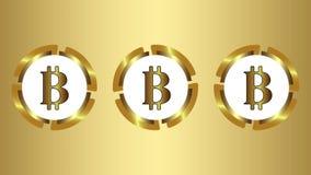 Tre symboler av bitcoin på guld stock illustrationer