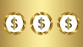 Tre symboler av dollar på guld vektor illustrationer