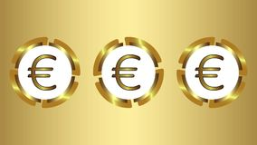 Tre symboler av euro på guld royaltyfri illustrationer