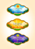 Tre symboler för etikett för tappningTime-schackningsperiod landskap Arkivbild