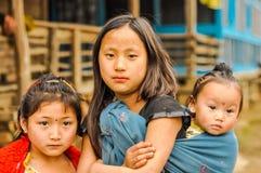 Tre systrar i Arunachal Pradesh Royaltyfria Foton