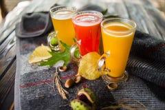 Tre tè caldi della frutta immagine stock