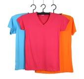 Tre t-skjorta mall på hange arkivfoto