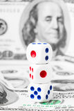 Tre tagliano sull'le note a cubetti dei dollari Fotografia Stock