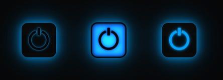 Tre tasti di potenza che si illuminano nella nerezza Fotografia Stock Libera da Diritti