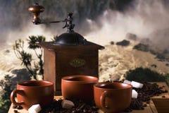 Tre tazze del coffe Fotografie Stock