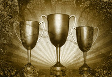 Tre tazze del trofeo Fotografia Stock Libera da Diritti