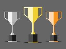 Tre tazze del trofeo Immagine Stock Libera da Diritti