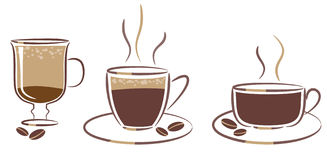 Tre tazze di caffè Fotografia Stock Libera da Diritti