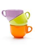 Tre tazze di colore Fotografia Stock