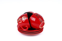 Tre tazze di tè rosse cinesi sull'zolle Fotografia Stock Libera da Diritti