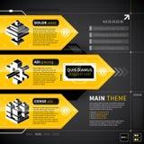 Tre technobaner med text och isometriska symboler Fotografering för Bildbyråer