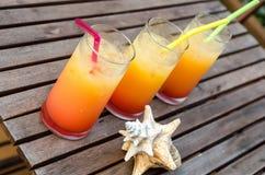 Tre tequilasoluppgångcoctailar Arkivfoto