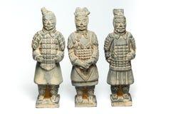 Tre Terra Cotta Warriors vid det forntida porslinet Royaltyfri Fotografi