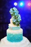 Tre-tiered bröllopstårta för härlig turkos royaltyfri fotografi