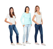 Tre tillfälliga unga kvinnor arkivfoton
