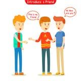 Tre tipi che parlano di nuovo amico Fotografia Stock