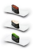 Tre tipi di gunkan: caviale di color salmone, granchio con Cr Fotografia Stock Libera da Diritti