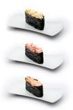 Tre tipi di gunkan: granchio piccante, sgombro piccante e Fotografie Stock Libere da Diritti