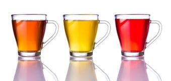 Tre tipi di tè isolati su bianco Fotografia Stock