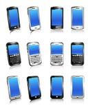 Tre tipi di telefoni in due e tre dimensioni illustrazione vettoriale