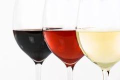 Tre tipi di vini Fotografie Stock