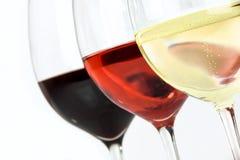 Tre tipi di vini Fotografia Stock Libera da Diritti