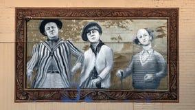 Tre tirapiedi che golfing murale, Dallas, il Texas Fotografia Stock